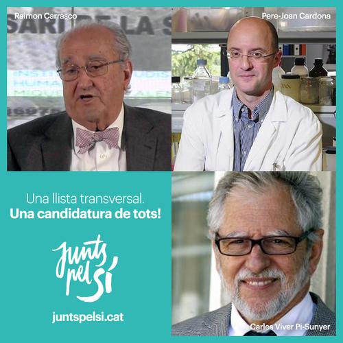 Pere-Joan Cardona, Carles Viver Pi-Sunyer i Raimon Carrasco formaran part de la candidatura Junts pel Sí