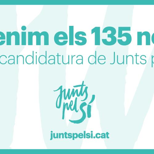 Junts pel Sí fa públics els 135 noms de la candidatura