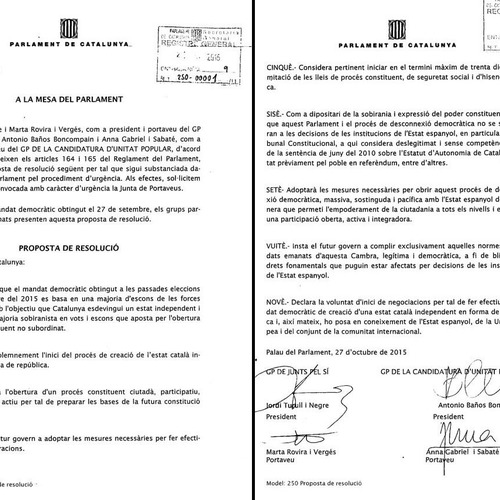 """Romeva: """"Amb la declaració complim el nostre compromís i recollim el mandat de la ciutadania expressat nítidament a les urnes el 27S"""""""