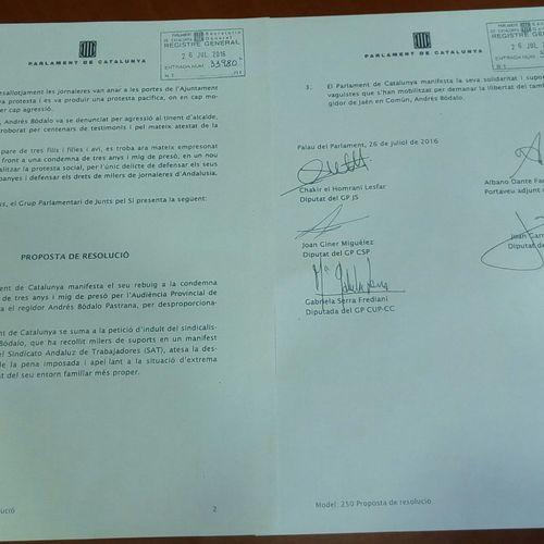 JxSí, CUP i CSQP presenten una iniciativa al Parlament de suport al sindicalista Andrés Bódalo