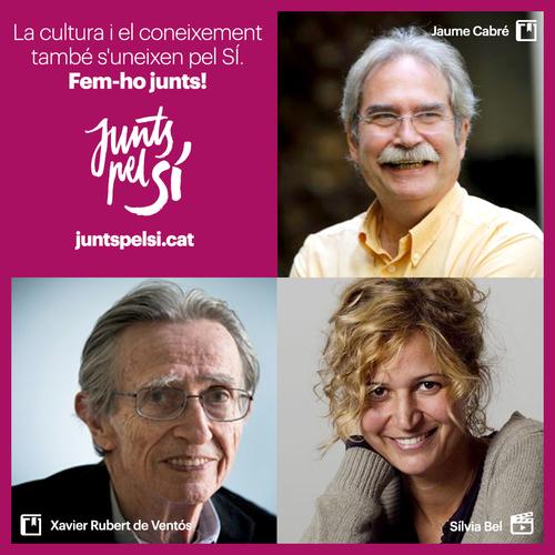 Xavier Rubert de Ventós, Sílvia Bel i Jaume Cabré se sumen a la llista de Junts pel Sí