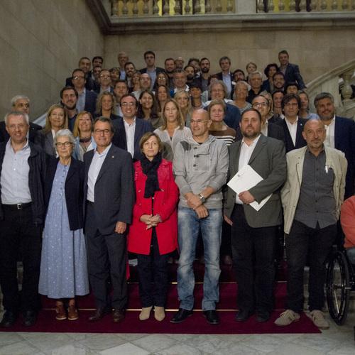 Primera reunió del grup parlamentari de Junts pel Sí per encarar el curs polític al Parlament