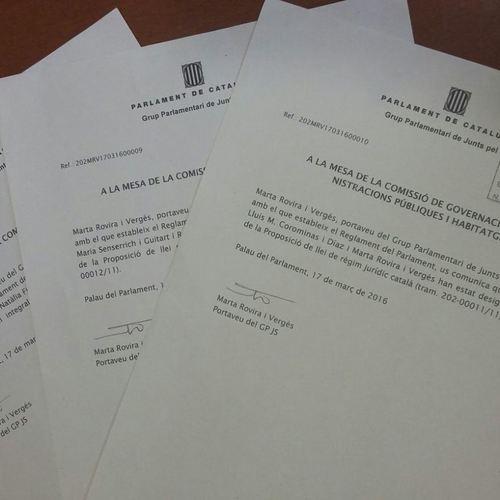 Junts pel el Sí designa los ponentes de las proposiciones de ley de régimen jurídico catalán, Administración tributaria catalana y protección social catalana